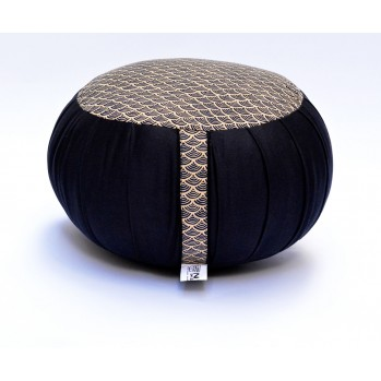 Zafu Haut 22 cm kapok Petit Koï, noir, tissu japonais