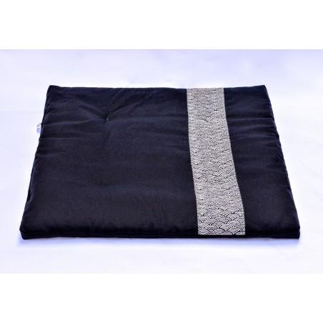 Zafuton épais Grand Koï, noir, tissu japonais