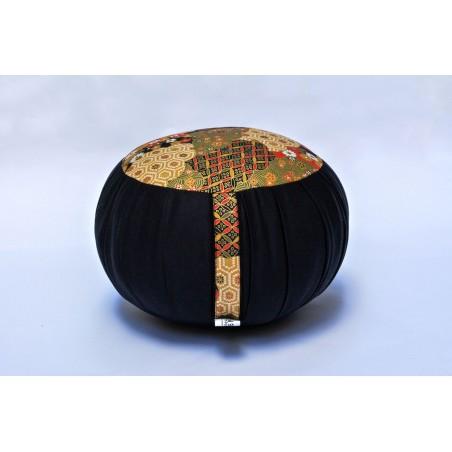 Zafu standard kapok Spécial Noël, noir, tissu japonais