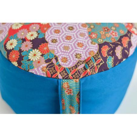 Zafu épeautre bio shibori, bleu turquoise, tissu japonais