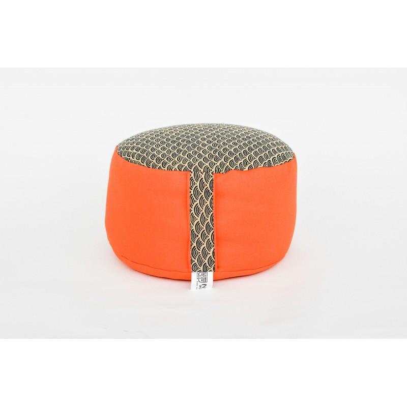 Zafu épeautre bio Petit Koï, orange, tissu japonais
