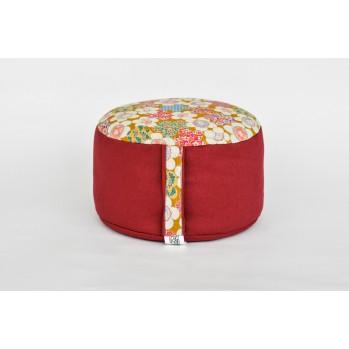 Zafu épeautre bio jonchée de fleurs, rouge, tissu japonais