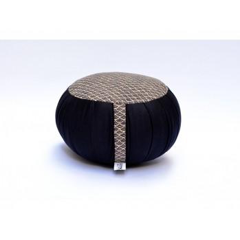 Zafu standard kapok Petit Koï, noir, tissu japonais