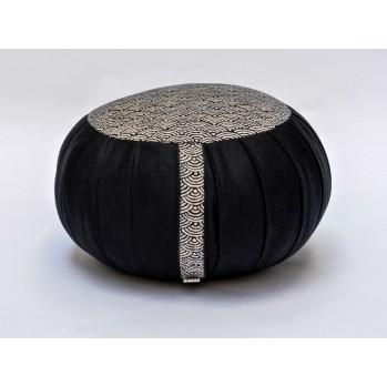 Zafu Haut 22 cm kapok Grand Koï, noir, tissu japonais