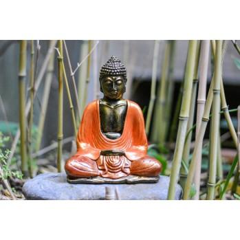Bouddha en bois peint, 16 cm