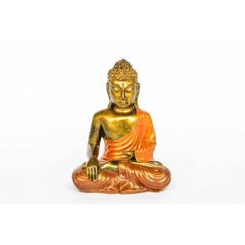 Bouddha en bois peint, 22,5 cm