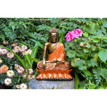 Bouddha en bois peint, 21,5 cm