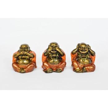 Trois Bouddhas en bois peint, 5 cm