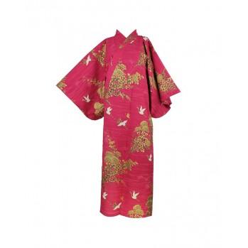 Yukata héron, rouge et or