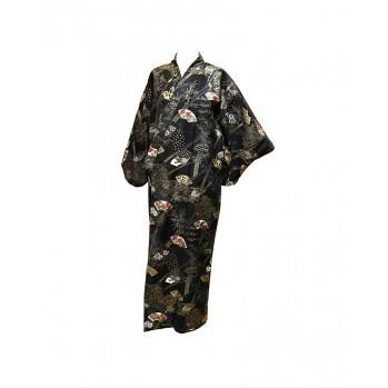 Yukata Éventails noir et or