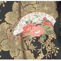 Yukata Fleurs noir et or
