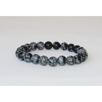 Mala bracelet Obsidienne à flocons, 10 mm