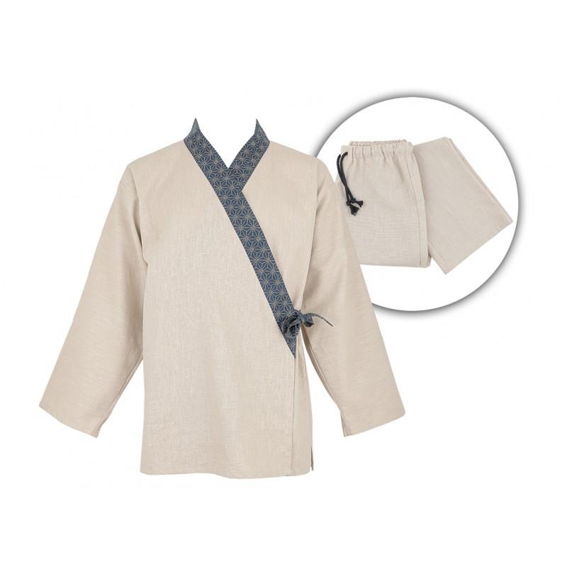 Ensemble samue, col Asanoha bleu, tissu rami, beige