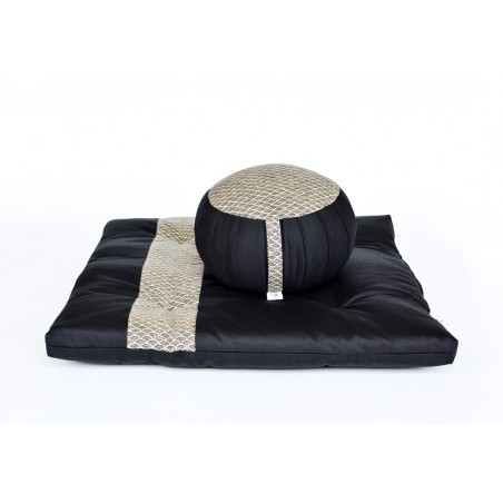 zafu et zafuton Grand Koï, noir, tissu japonais