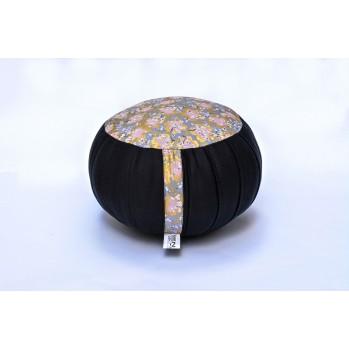Zafu standard kapok Fleurs d'or sur gris, noir, tissu japonais