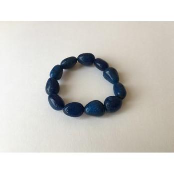 Mala bracelet en quartz bleu galet