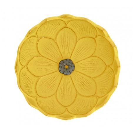 Brûle encens Fleur de lotus, en fonte du Japon, jaune