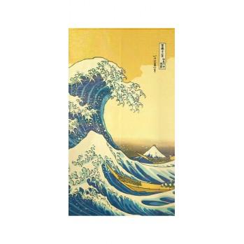 Noren Vague de kanagawa , rideau japonais