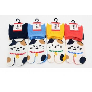 Chaussettes japonaises (tabi) Motif Chat, jaune