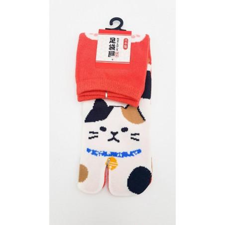 Chaussettes japonaises (tabi) Motif Chat, orange
