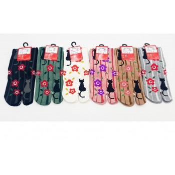 Chaussettes japonaises (tabi) Motif Chat et Rayures, 34-40, noir