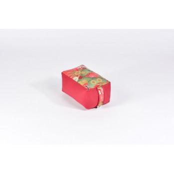 Mini-zafu brique (épeautre), kiku, bordeaux, tissu japonais