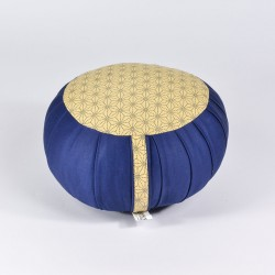 Zafu standard kapok Asanoha, bleu, tissu japonais