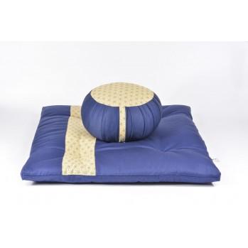afu et zafuton Asanoha, bleu, tissu japonais