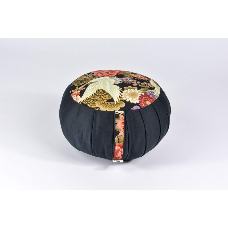 Zafu standard kapok Tsuru, noir, tissu japonais