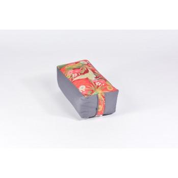 Zafu rectangle épeautre bio Tsuru, gris, tissu japonais