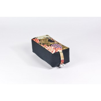 Zafu rectangle épeautre bio Tsuru, noir, tissu japonais