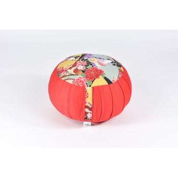 Zafu standard kapok, thème de la Geisha, rouge, tissu japonais