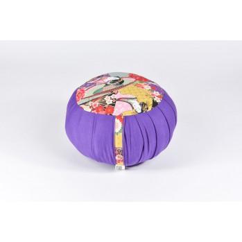Zafu standard kapok, thème de la Geisha, violet, tissu japonais