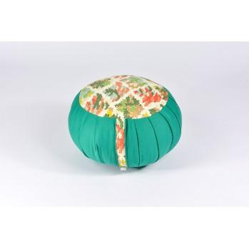 Zafu standard kapok Nuage de fleurs, vert émeraude, tissu japonais