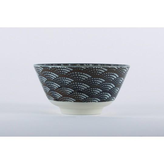 """Bol en porcelaine du Japon """"les vagues"""" noir et blanc"""