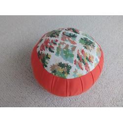 Zafu standard kapok Nuage de fleurs, orange, tissu japonais
