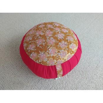 Zafu standard kapok Fleurs d'or sur safran, rouge, tissu japonais