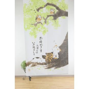 """Noren """"Hiboux"""", rideau japonais"""