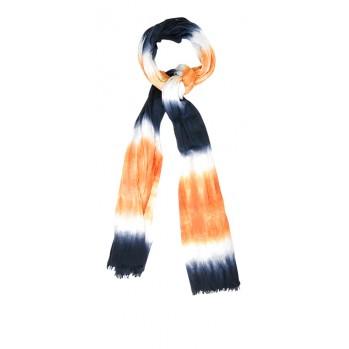 Echarpe tie and die, orange/marine,100 % coton