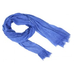 Echarpe coton lavé, bords frangés, bleu,100 % coton