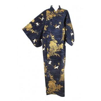 """Yukata-kimono """"héron d'or"""", en coton"""
