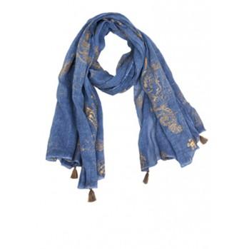 Echarpe Navy arabesques or, 100 % coton