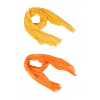 Echarpe washed, bords frangés, 100 % coton, orange