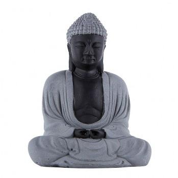 Statue Bouddha de Nara, en pierre de lave, posture de méditation
