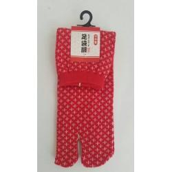 Chaussettes japonaises (tabi) Motif Sashiko, 34-40, rouge