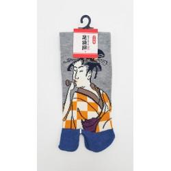 Chaussettes japonaises (tabi) Motif Femme japonaise, 34-40, gris