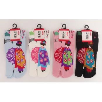 Chaussettes japonaises (tabi) Motif Geisha, 34-40, noir