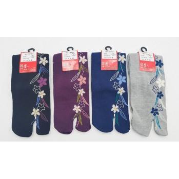 Chaussettes japonaises (tabi) Motif Fleurs blanches, 34-40, gris