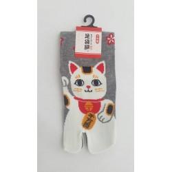 Chaussettes japonaises (tabi) Motif Chat, 34-40, gris clair