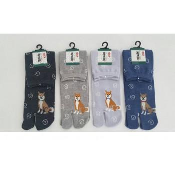 Chaussettes japonaises (tabi) Motif Chien, 40-45, noir